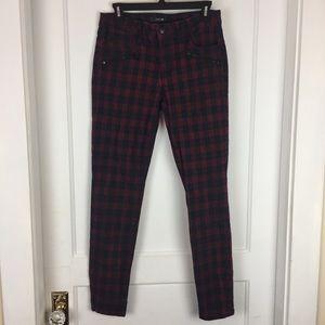 Joe's Jeans Zip Skinny Plaid Pants Size 28